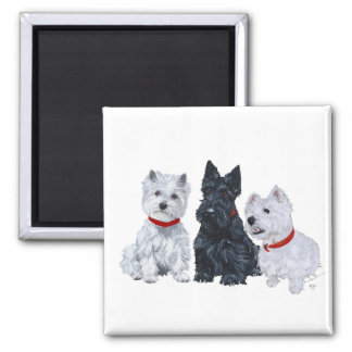 Two Westies and a Scottie Fridge Magnets