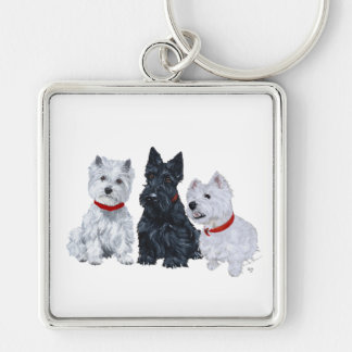 Two Westies and a Scottie Silver-Colored Square Key Ring