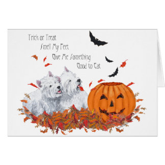Two Westies at Halloween Card