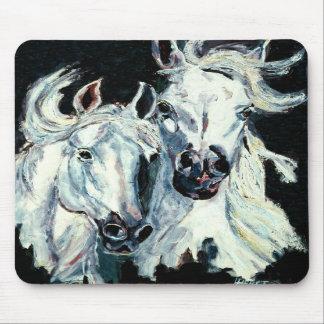 Two White Arabian Horses Mouse Pad