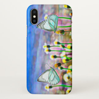 Two White Butterflies in a Yellow Flower Meadow iPhone X Case