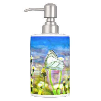 Two White Butterflies in a Yellow Flower Meadow Soap Dispenser And Toothbrush Holder