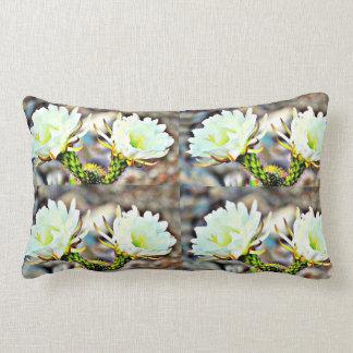 Two White Cactus Flowers Throw Pillow
