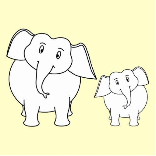 Two White Elephants on Cream. Cartoon. Cut Out