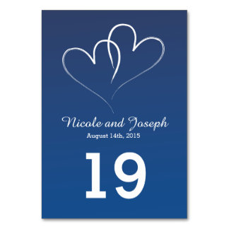 Two White Hearts intertwined - nautical blue Table Cards