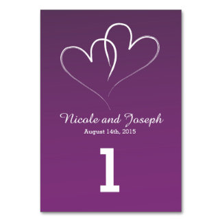 Two White Hearts intertwined Table Number - purple Table Card