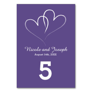 Two White Hearts with Ultra Violet Background Card