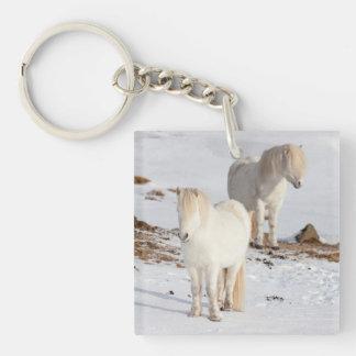 Two White Icelandic Horses Key Ring
