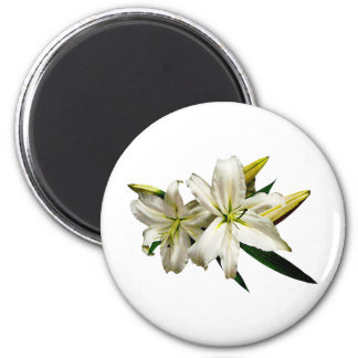 Two White Lilies and Buds 6 Cm Round Magnet