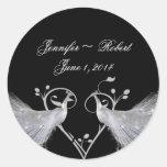 Two White Peacocks and Heart Monogram on Black ... Round Sticker
