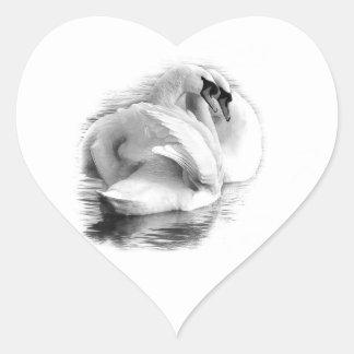 Two White Swans Heart Sticker