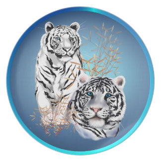 Two White  Tigers Plate