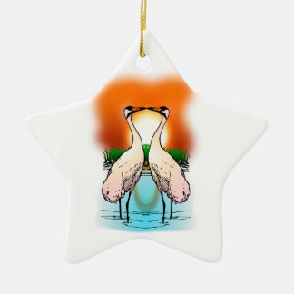 Two Whooping Cranes at Sunset Ceramic Star Decoration