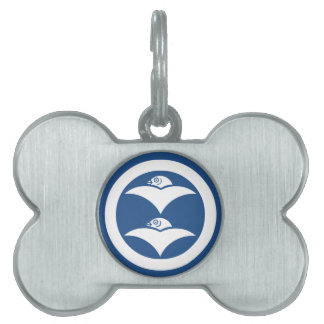 Two wild geese in circle pet name tags