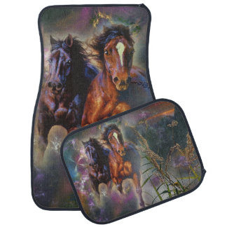 Two Wild Horses Running Free Car Mat