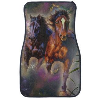 Two Wild Horses Running Free Floor Mat