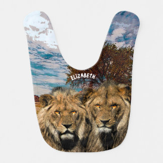 Two Wild Lions On African Savannah Background Bib