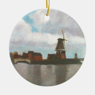 Two Windmills Painting Ornament