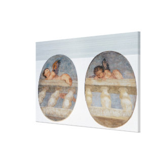 Two winged putti climbing over a balustrade, round canvas prints