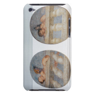 Two winged putti climbing over a balustrade, round iPod touch cover