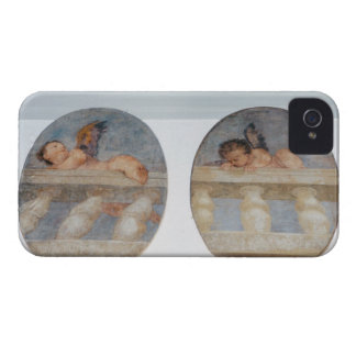 Two winged putti climbing over a balustrade, round iPhone 4 Case-Mate case