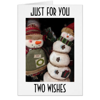 TWO WISHES=HAPPY BIRTHDAY/MERRY CHRISTMAS GREETING CARD