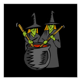Two witched stiring cauldron posters