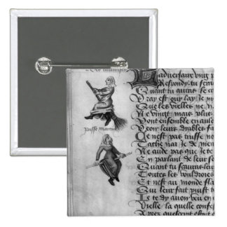 Two witches from 'Le Champion des Dames' 15 Cm Square Badge