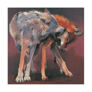 Two Wolves 2001 Wood Print