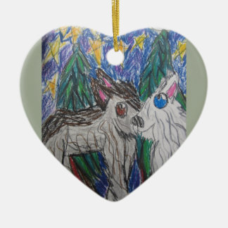 Two  wolves ceramic heart decoration