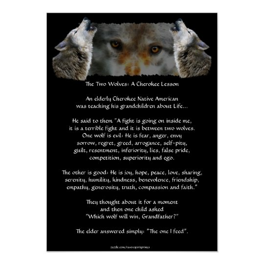 TWO WOLVES CHEROKEE STORY Wolf Poster (smaller)