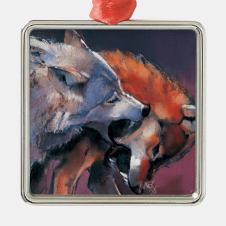 Two Wolves Christmas Ornament