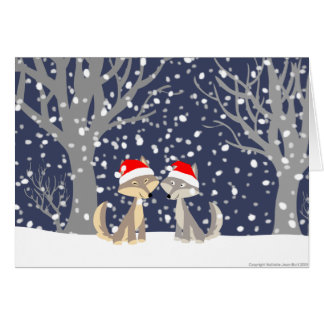Two wolves in winter Christmas greeting card