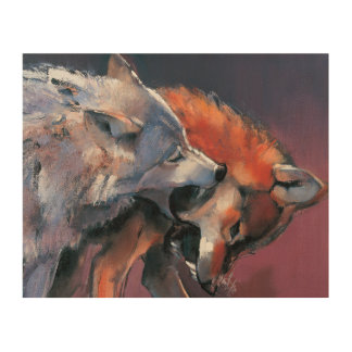 Two Wolves Wood Print