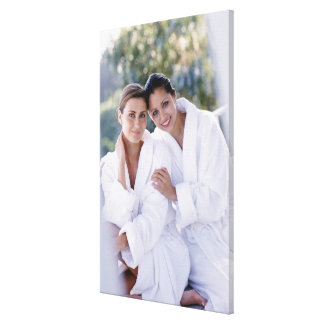Two woman wearing bath robes canvas print