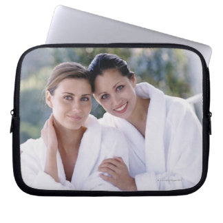 Two woman wearing bath robes laptop sleeve