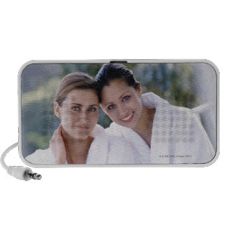 Two woman wearing bath robes speakers