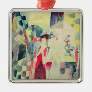 Two Women and a Man with Parrots, 20th century Christmas Ornament