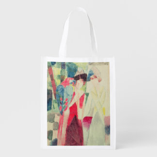 Two Women and a Man with Parrots, 20th century Reusable Grocery Bag