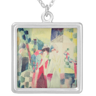 Two Women and a Man with Parrots, 20th century Silver Plated Necklace