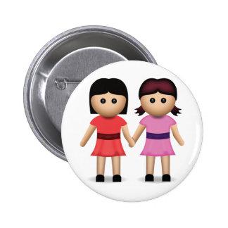 Two Women Holding Hands Emoji Pinback Buttons