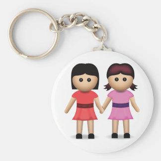 Two Women Holding Hands Emoji Basic Round Button Key Ring