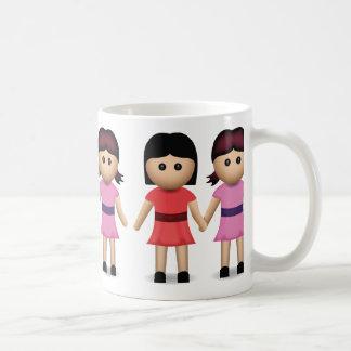 Two Women Holding Hands Emoji Basic White Mug