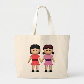 Two Women Holding Hands Emoji Jumbo Tote Bag