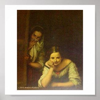 TWO WOMEN IN A WINDOW POSTER