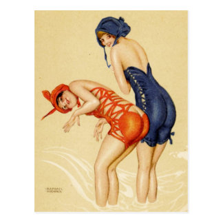 Two women in bathing suits - Vintage Pin Up Postcard