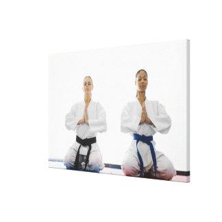 Two women meditating canvas print