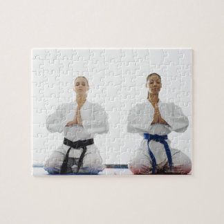 Two women meditating puzzles