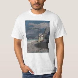 Two Women on a Gray Shingle Beach at Night T-shirt
