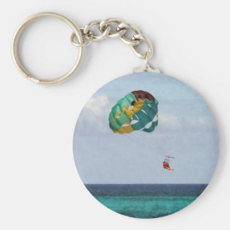 Two Women Parasailing in the Bahamas Basic Round Button Key Ring